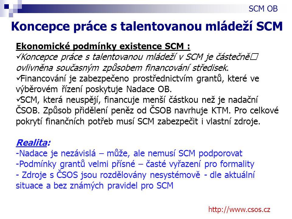 http://www.csos.cz Ekonomické podmínky existence SCM : Koncepce práce s talentovanou mládeží v SCM je částečně ovlivněna současným způsobem financování středisek.