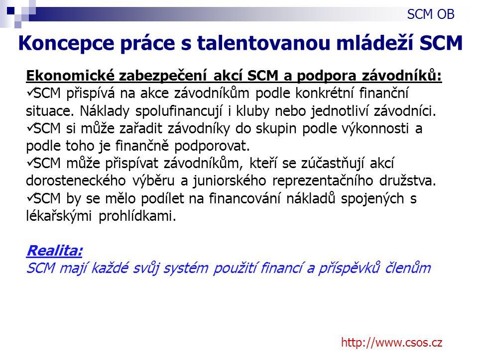 http://www.csos.cz Ekonomické zabezpečení akcí SCM a podpora závodníků: SCM přispívá na akce závodníkům podle konkrétní finanční situace.