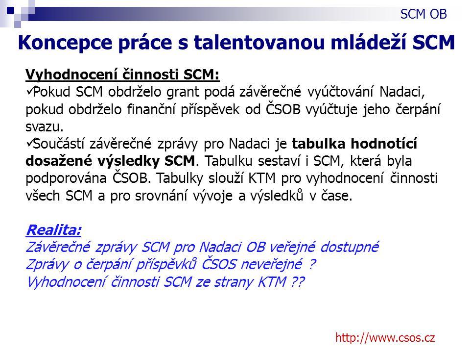 http://www.csos.cz Vyhodnocení činnosti SCM: Pokud SCM obdrželo grant podá závěrečné vyúčtování Nadaci, pokud obdrželo finanční příspěvek od ČSOB vyúčtuje jeho čerpání svazu.