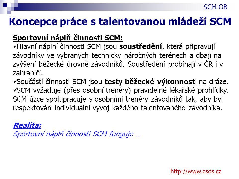 http://www.csos.cz Sportovní náplň činnosti SCM: Hlavní náplní činnosti SCM jsou soustředění, která připravují závodníky ve vybraných technicky náročných terénech a dbají na zvýšení běžecké úrovně závodníků.