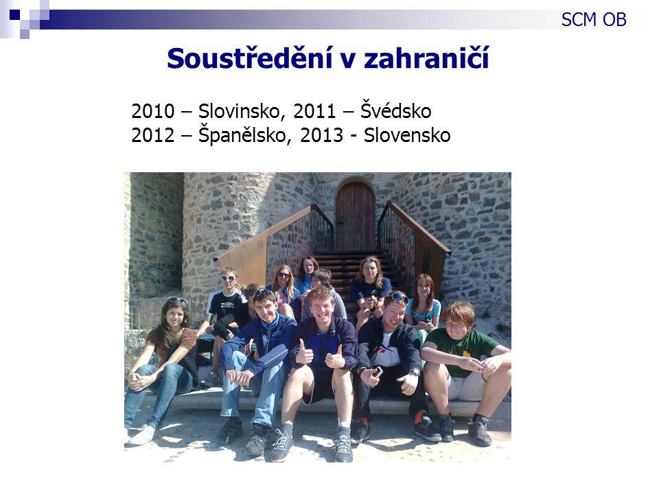 2010 – Slovinsko, 2011 – Švédsko 2012 – Španělsko, 2013 - Slovensko SCM OB Soustředění v zahraničí