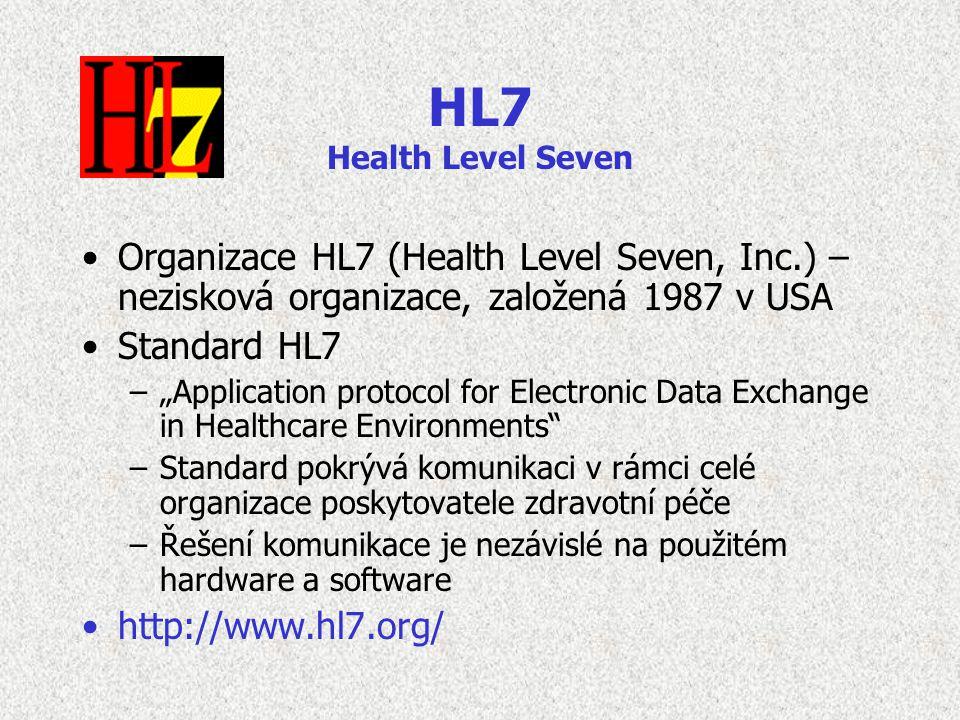 """HL7 Health Level Seven Organizace HL7 (Health Level Seven, Inc.) – nezisková organizace, založená 1987 v USA Standard HL7 –""""Application protocol for E"""