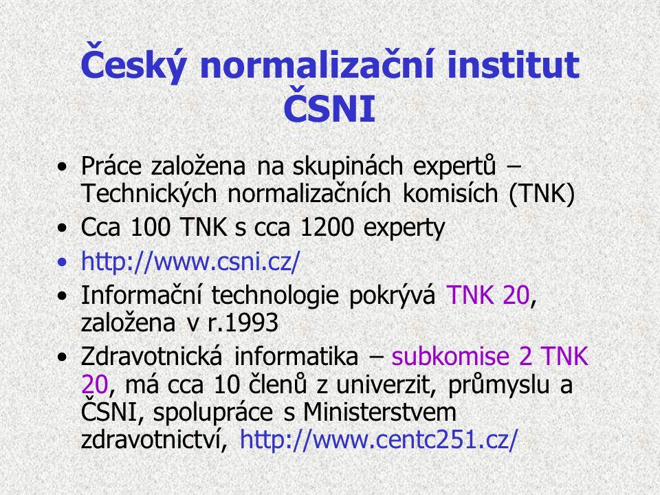 Český normalizační institut ČSNI Práce založena na skupinách expertů – Technických normalizačních komisích (TNK) Cca 100 TNK s cca 1200 experty http://www.csni.cz/ Informační technologie pokrývá TNK 20, založena v r.1993 Zdravotnická informatika – subkomise 2 TNK 20, má cca 10 členů z univerzit, průmyslu a ČSNI, spolupráce s Ministerstvem zdravotnictví, http://www.centc251.cz/