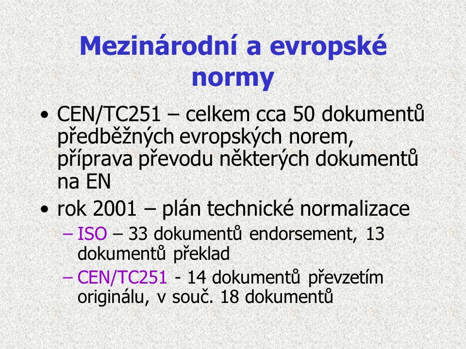 Mezinárodní a evropské normy CEN/TC251 – celkem cca 50 dokumentů předběžných evropských norem, příprava převodu některých dokumentů na EN rok 2001 – plán technické normalizace –ISO – 33 dokumentů endorsement, 13 dokumentů překlad –CEN/TC251 - 14 dokumentů převzetím originálu, v souč.