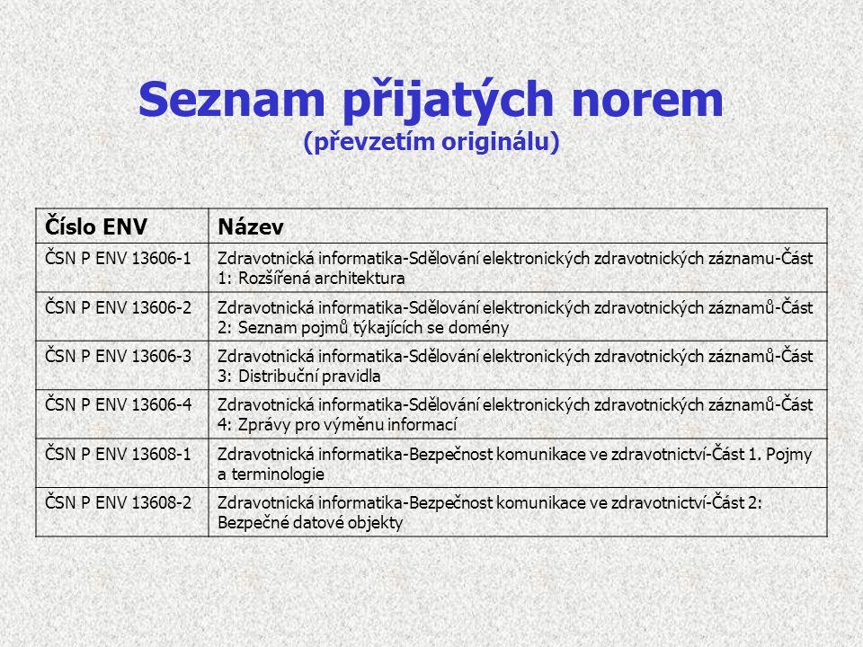 Seznam přijatých norem (převzetím originálu) Číslo ENVNázev ČSN P ENV 13606-1Zdravotnická informatika-Sdělování elektronických zdravotnických záznamu-