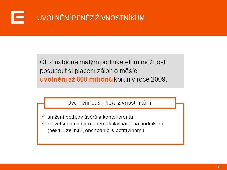 13 UVOLNĚNÍ PENĚZ ŽIVNOSTNÍKŮM ČEZ nabídne malým podnikatelům možnost posunout si placení záloh o měsíc: uvolnění až 800 milionů korun v roce 2009. sn