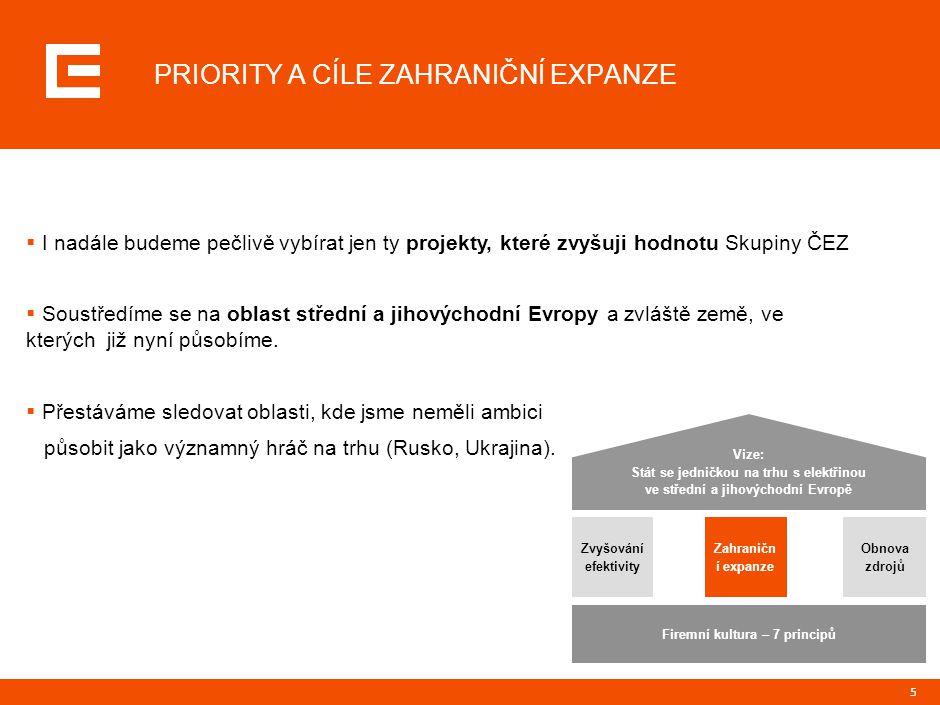 5 Vize: Stát se jedničkou na trhu s elektřinou ve střední a jihovýchodní Evropě Zvyšování efektivity Zahraničn í expanze Obnova zdrojů Firemní kultura