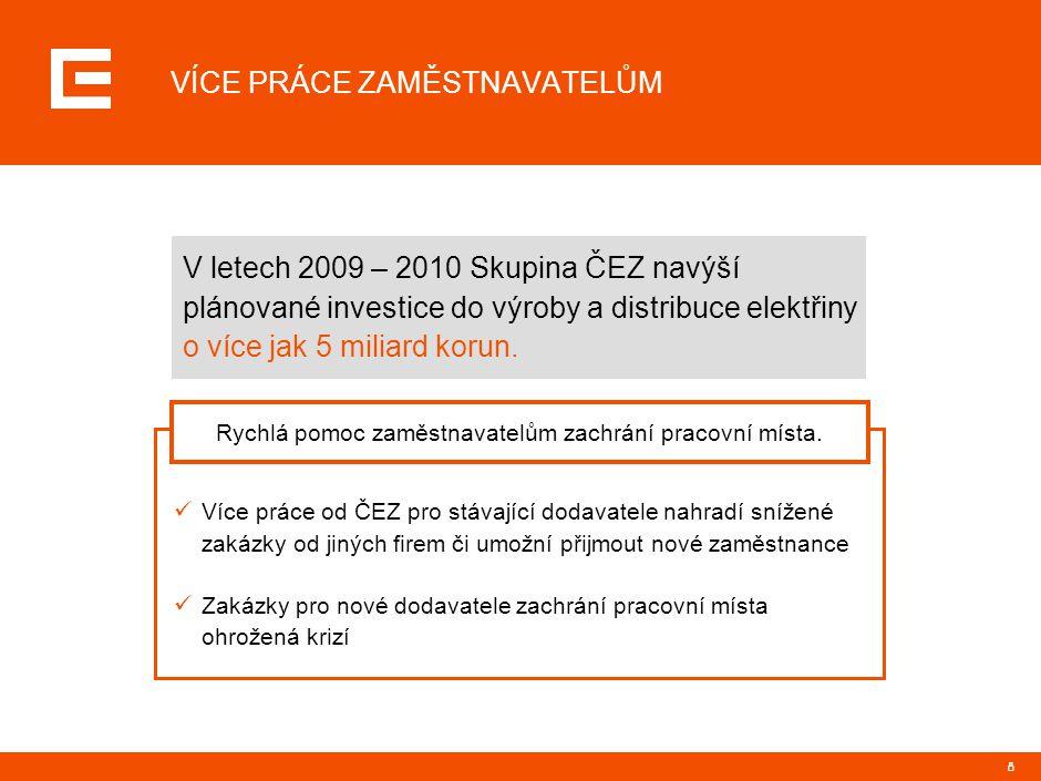 8 VÍCE PRÁCE ZAMĚSTNAVATELŮM V letech 2009 – 2010 Skupina ČEZ navýší plánované investice do výroby a distribuce elektřiny o více jak 5 miliard korun.