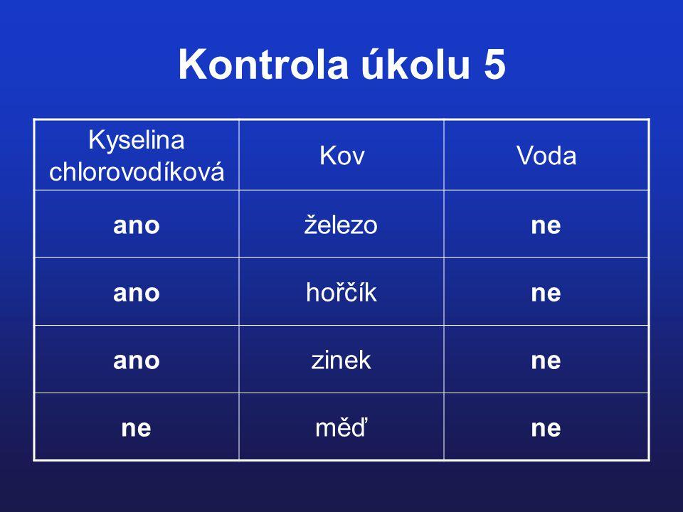 Kontrola úkolu 5 Kyselina chlorovodíková KovVoda anoželezone anohořčíkne anozinekne měďne