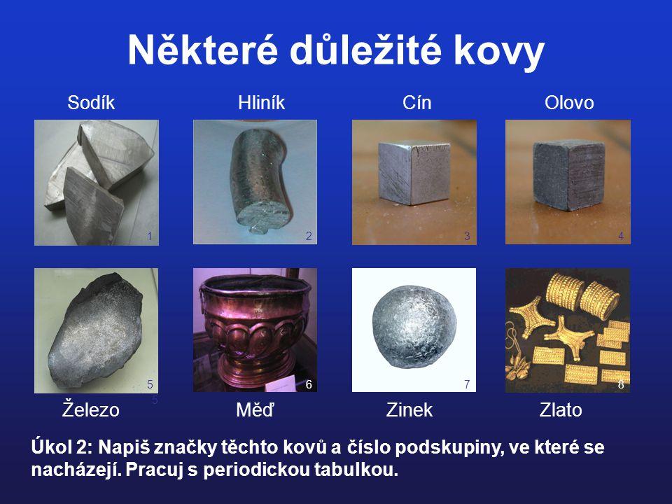 Některé důležité kovy 12 Sodík Hliník Cín Olovo 34 5 5678 Železo Měď Zinek Zlato Úkol 2: Napiš značky těchto kovů a číslo podskupiny, ve které se nach