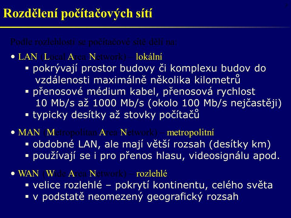 3 Rozdělení počítačových sítí Podle rozlehlosti se počítačové sítě dělí na: LAN (Local Area Network) – lokální  pokrývají prostor budovy či komplexu budov do vzdálenosti maximálně několika kilometrů  přenosové médium kabel, přenosová rychlost 10 Mb/s až 1000 Mb/s (okolo 100 Mb/s nejčastěji)  typicky desítky až stovky počítačů MAN (Metropolitan Area Network) – metropolitní  obdobné LAN, ale mají větší rozsah (desítky km)  používají se i pro přenos hlasu, videosignálu apod.