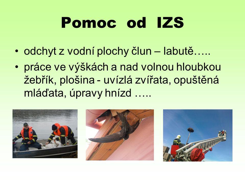 Pomoc od IZS odchyt z vodní plochy člun – labutě….. práce ve výškách a nad volnou hloubkou žebřík, plošina - uvízlá zvířata, opuštěná mláďata, úpravy