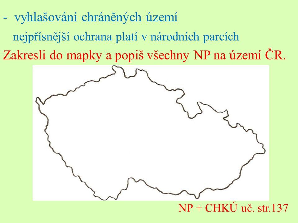 -vyhlašování chráněných území nejpřísnější ochrana platí v národních parcích Zakresli do mapky a popiš všechny NP na území ČR. NP + CHKÚ uč. str.137