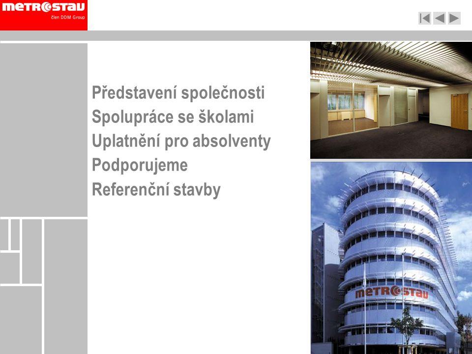 Představení společnosti Spolupráce se školami Uplatnění pro absolventy Podporujeme Referenční stavby