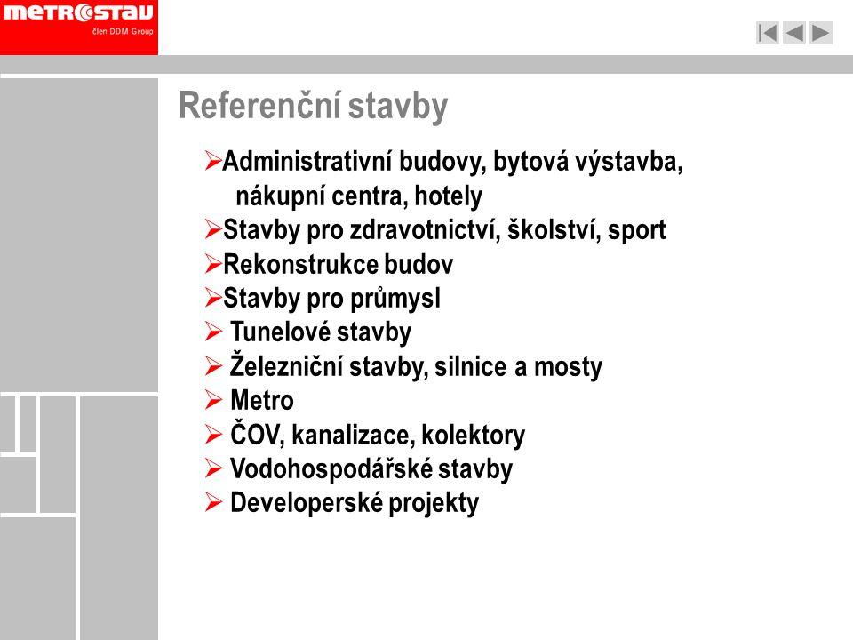Referenční stavby  Administrativní budovy, bytová výstavba, nákupní centra, hotely  Stavby pro zdravotnictví, školství, sport  Rekonstrukce budov 