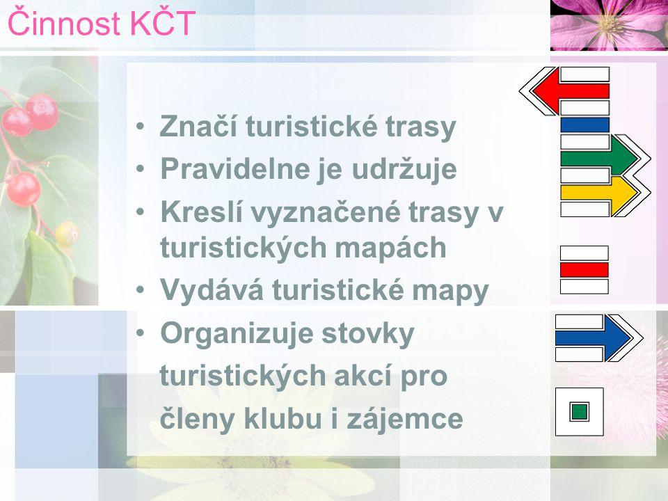 Činnost KČT Značí turistické trasy Pravidelne je udržuje Kreslí vyznačené trasy v turistických mapách Vydává turistické mapy Organizuje stovky turistických akcí pro členy klubu i zájemce