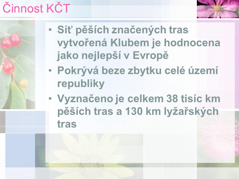 Činnost KČT Síť pěších značených tras vytvořená Klubem je hodnocena jako nejlepší v Evropě Pokrývá beze zbytku celé území republiky Vyznačeno je celkem 38 tisíc km pěších tras a 130 km lyžařských tras