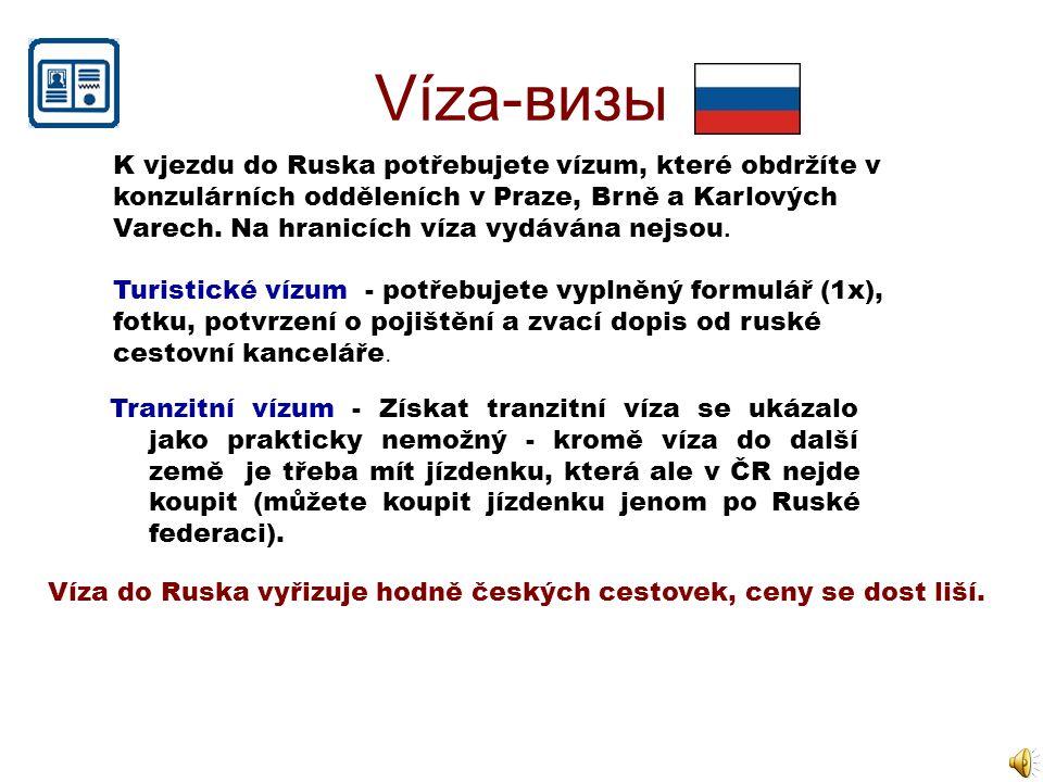 Víza-визы K vjezdu do Ruska potřebujete vízum, které obdržíte v konzulárních odděleních v Praze, Brně a Karlových Varech. Na hranicích víza vydávána n