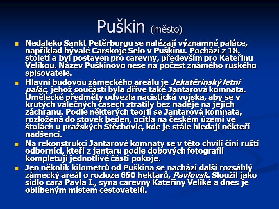 Puškin (město) Nedaleko Sankt Petěrburgu se nalézají významné paláce, například bývalé Carskoje Selo v Puškinu. Pochází z 18. století a byl postaven p