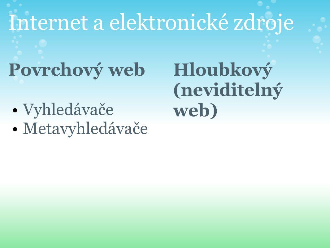 Internet a elektronické zdroje Povrchový web Vyhledávače Metavyhledávače Hloubkový (neviditelný web)