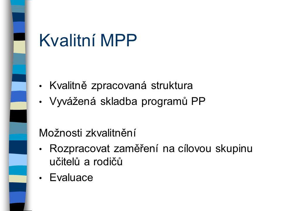 Kvalitní MPP Kvalitně zpracovaná struktura Vyvážená skladba programů PP Možnosti zkvalitnění Rozpracovat zaměření na cílovou skupinu učitelů a rodičů Evaluace