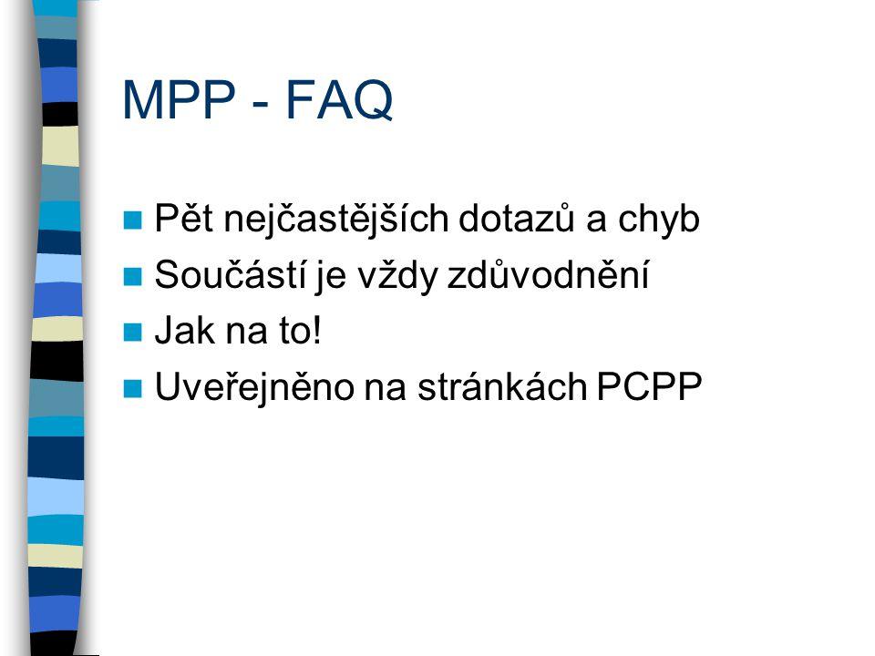 MPP - FAQ Pět nejčastějších dotazů a chyb Součástí je vždy zdůvodnění Jak na to.