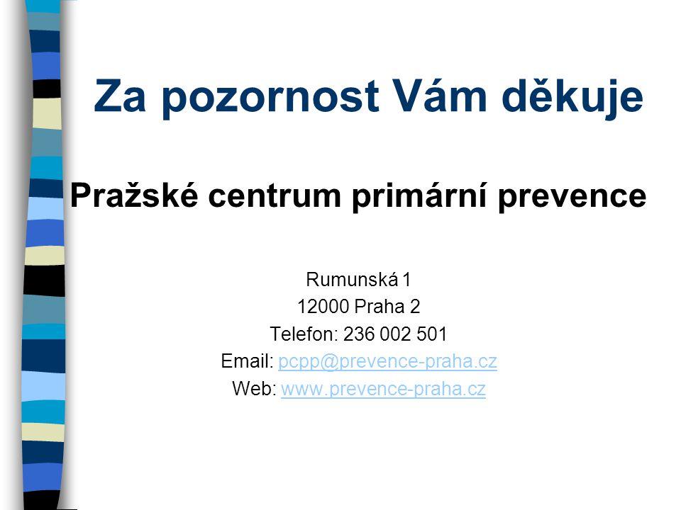 Za pozornost Vám děkuje Pražské centrum primární prevence Rumunská 1 12000 Praha 2 Telefon: 236 002 501 Email: pcpp@prevence-praha.czpcpp@prevence-praha.cz Web: www.prevence-praha.czwww.prevence-praha.cz