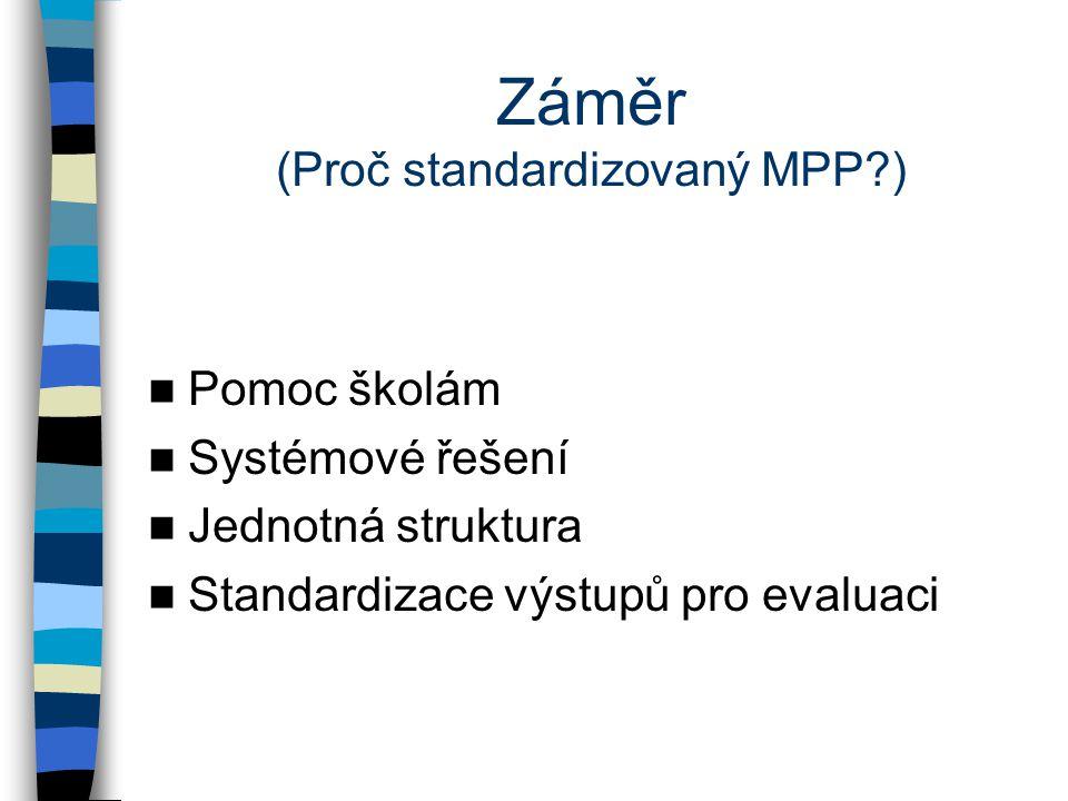 Záměr (Proč standardizovaný MPP ) Pomoc školám Systémové řešení Jednotná struktura Standardizace výstupů pro evaluaci