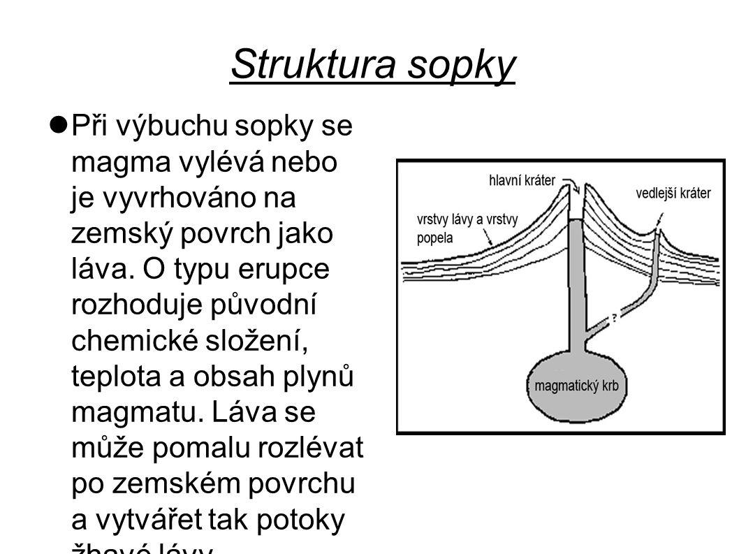 Struktura sopky Při výbuchu sopky se magma vylévá nebo je vyvrhováno na zemský povrch jako láva. O typu erupce rozhoduje původní chemické složení, tep
