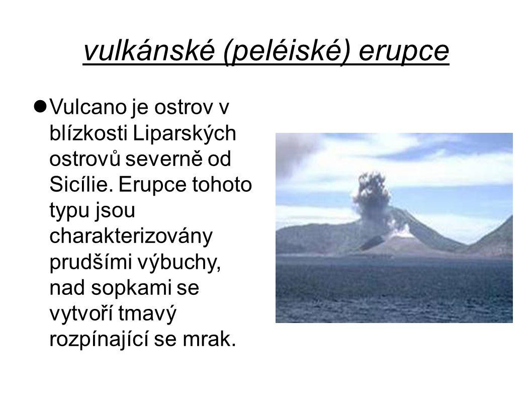 vulkánské (peléiské) erupce Vulcano je ostrov v blízkosti Liparských ostrovů severně od Sicílie. Erupce tohoto typu jsou charakterizovány prudšími výb