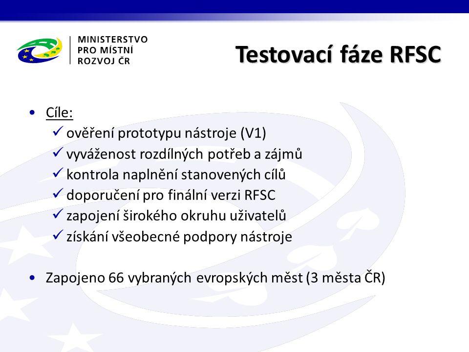 Testovací fáze RFSC Cíle: ověření prototypu nástroje (V1) vyváženost rozdílných potřeb a zájmů kontrola naplnění stanovených cílů doporučení pro finální verzi RFSC zapojení širokého okruhu uživatelů získání všeobecné podpory nástroje Zapojeno 66 vybraných evropských měst (3 města ČR)