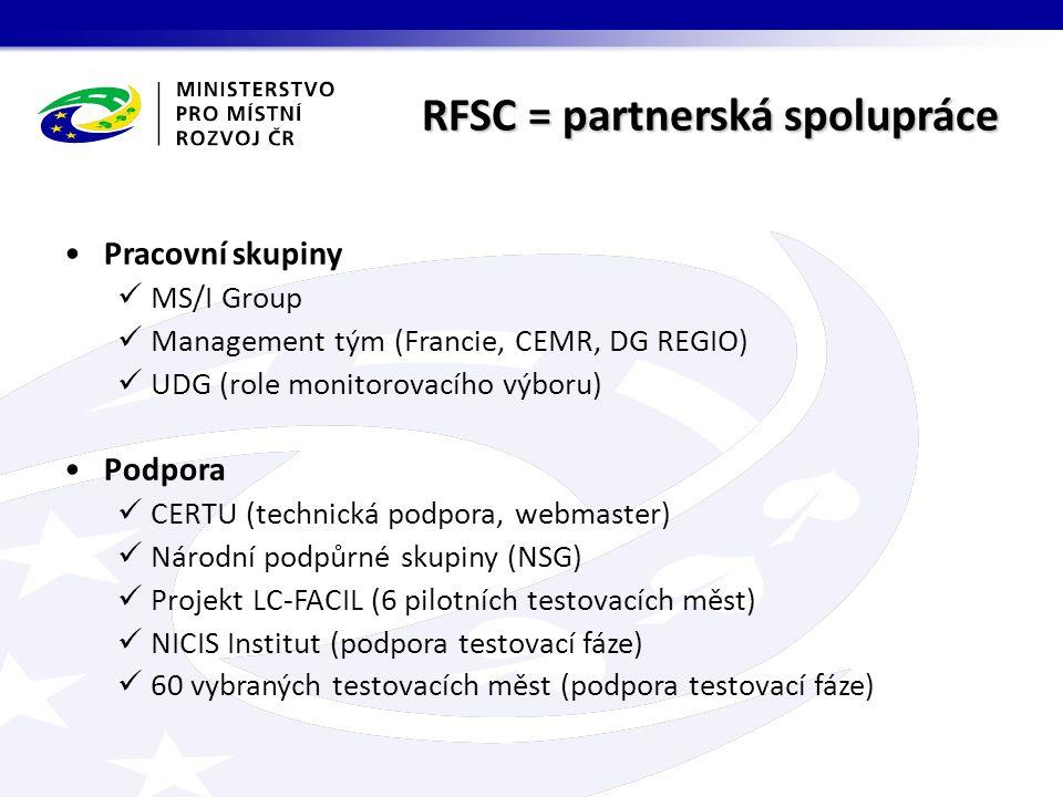 RFSC = partnerská spolupráce Pracovní skupiny MS/I Group Management tým (Francie, CEMR, DG REGIO) UDG (role monitorovacího výboru) Podpora CERTU (technická podpora, webmaster) Národní podpůrné skupiny (NSG) Projekt LC-FACIL (6 pilotních testovacích měst) NICIS Institut (podpora testovací fáze) 60 vybraných testovacích měst (podpora testovací fáze)