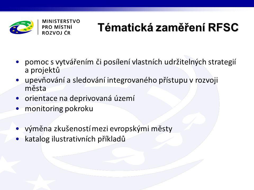 Tématická zaměření RFSC pomoc s vytvářením či posílení vlastních udržitelných strategií a projektů upevňování a sledování integrovaného přístupu v rozvoji města orientace na deprivovaná území monitoring pokroku výměna zkušeností mezi evropskými městy katalog ilustrativních příkladů