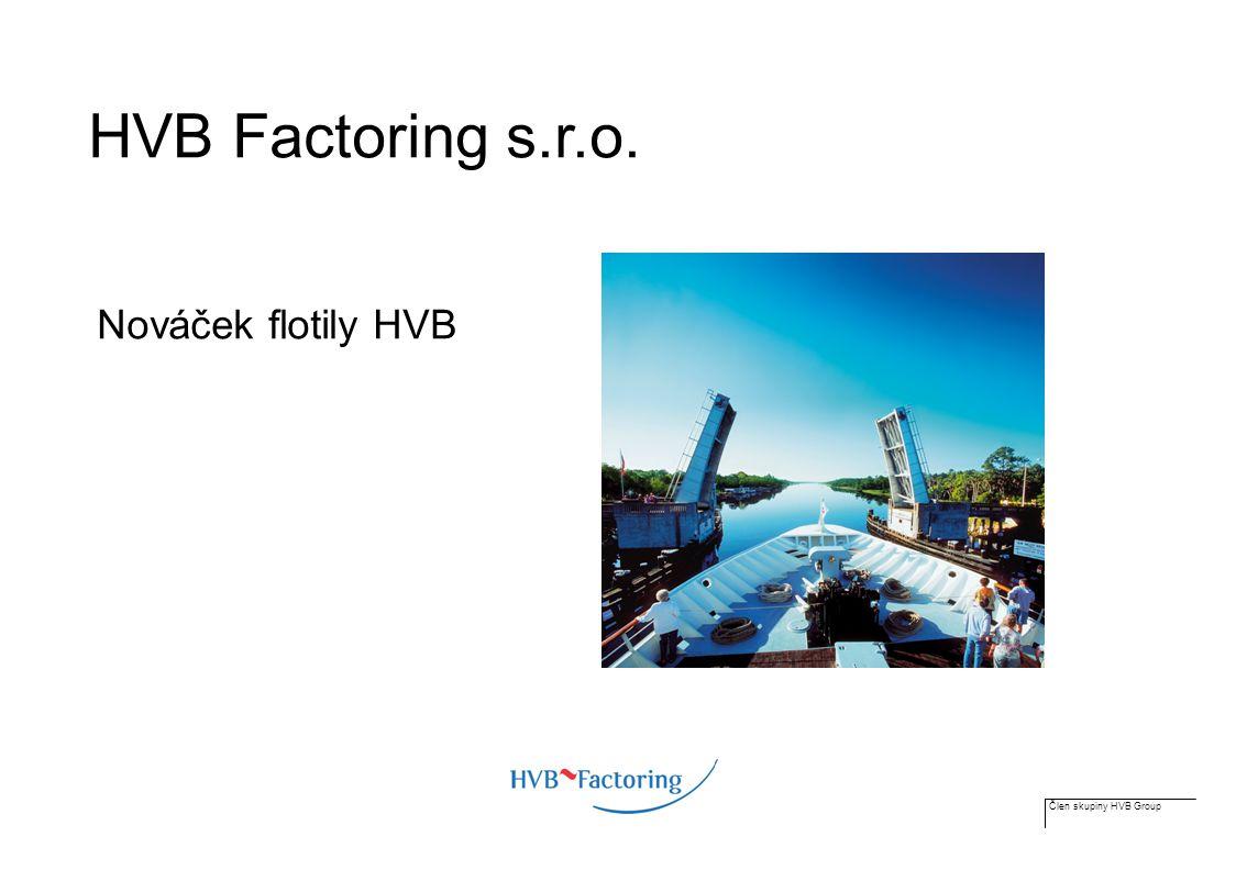 Člen skupiny HVB Group Factoring v praxi Klient Odběratel Dodávka zboží, faktura Zaplacení zboží Inkaso Doplatek 20 % Záloha 80 % Odkup pohledávky