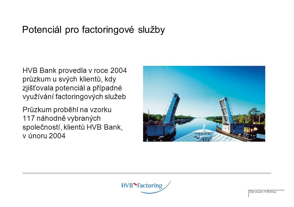 Člen skupiny HVB Group Potenciál pro factoringové služby HVB Bank provedla v roce 2004 průzkum u svých klientů, kdy zjišťovala potenciál a případné využívání factoringových služeb Průzkum proběhl na vzorku 117 náhodně vybraných společností, klientů HVB Bank, v únoru 2004