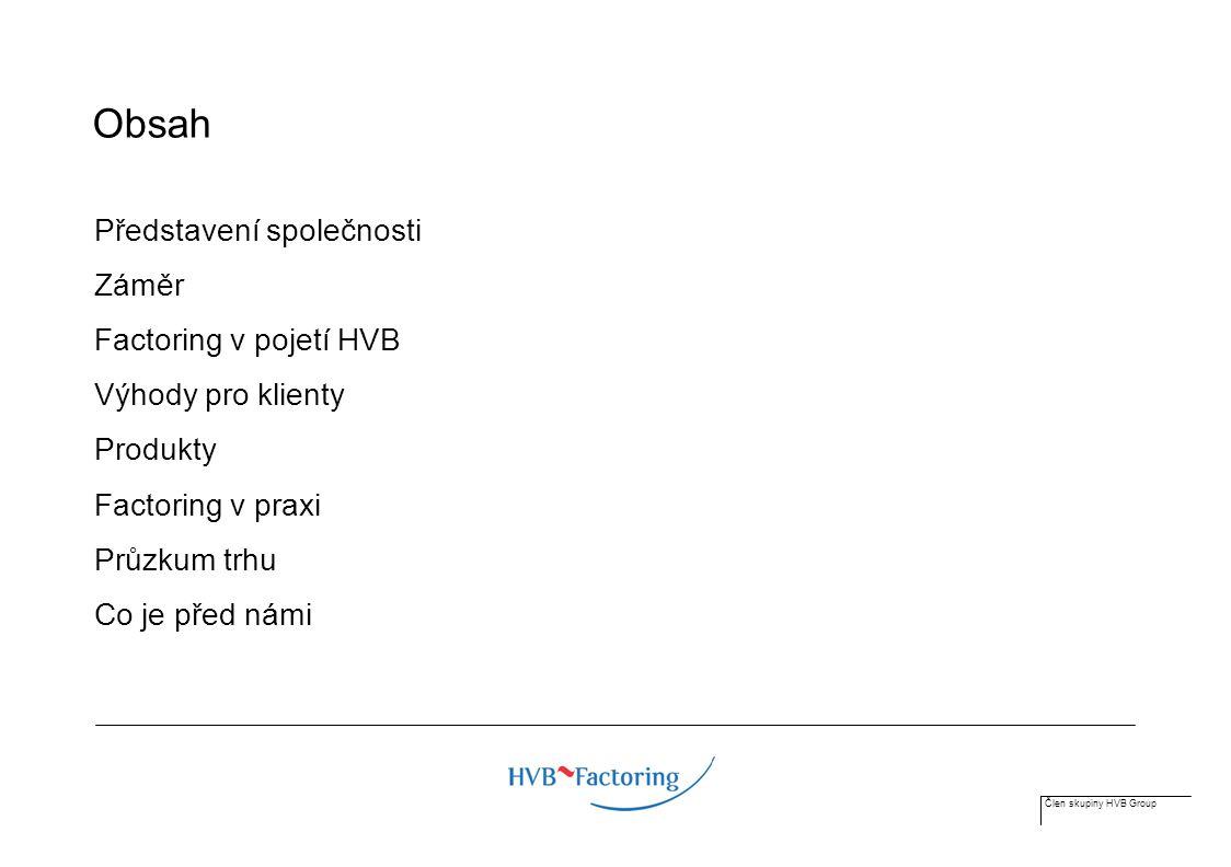 Člen skupiny HVB Group Obsah Představení společnosti Záměr Factoring v pojetí HVB Výhody pro klienty Produkty Factoring v praxi Průzkum trhu Co je před námi
