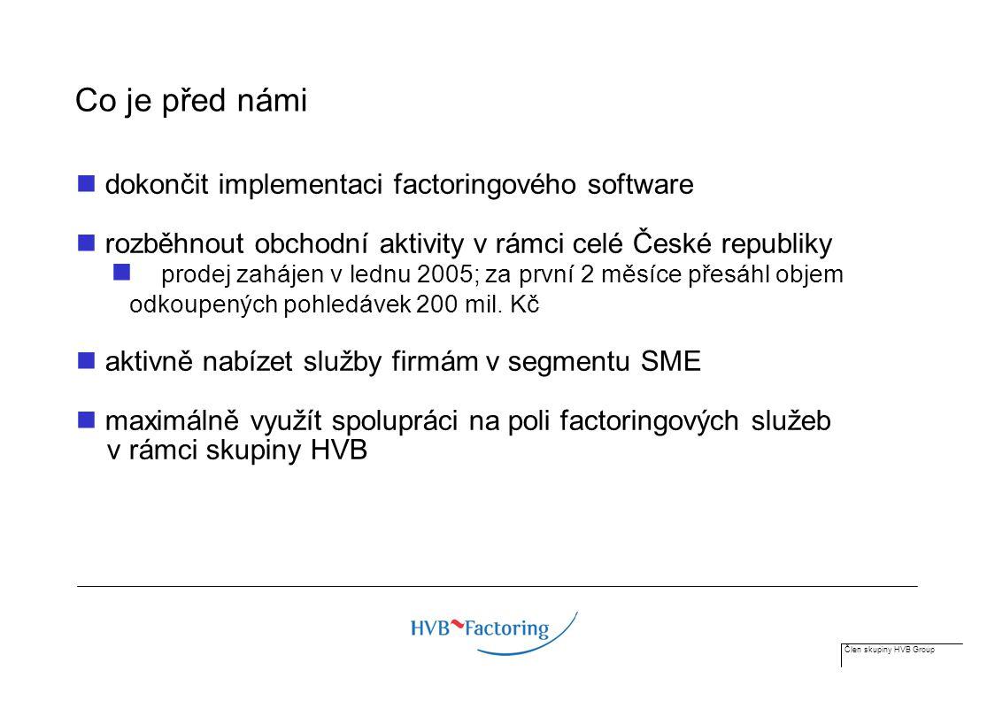 Člen skupiny HVB Group Co je před námi dokončit implementaci factoringového software rozběhnout obchodní aktivity v rámci celé České republiky prodej zahájen v lednu 2005; za první 2 měsíce přesáhl objem odkoupených pohledávek 200 mil.
