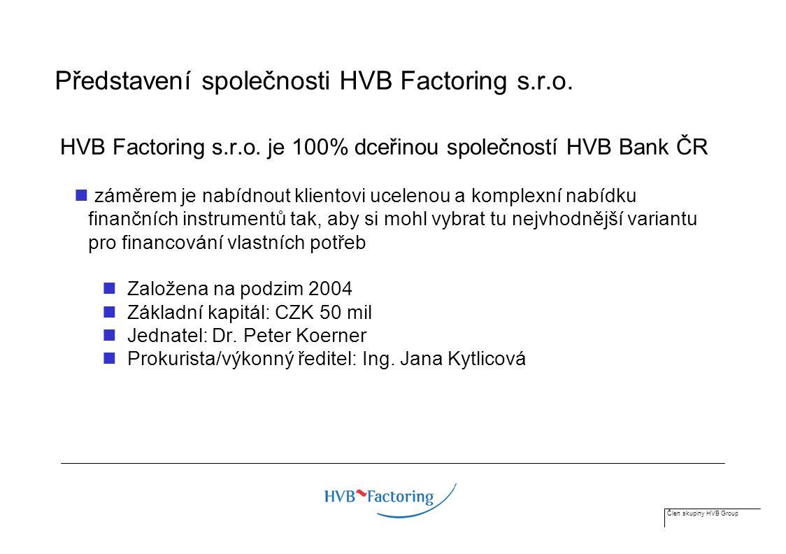 Člen skupiny HVB Group Záměr vyhovět rostoucí poptávce ucelené portfolio produktů využití know-how ve financování pohledávek cíleně oslovit malé a střední podniky (SME) silné regionální pobočkové zastoupení HVB Bank synergie vedoucí bankovní skupiny v CEE