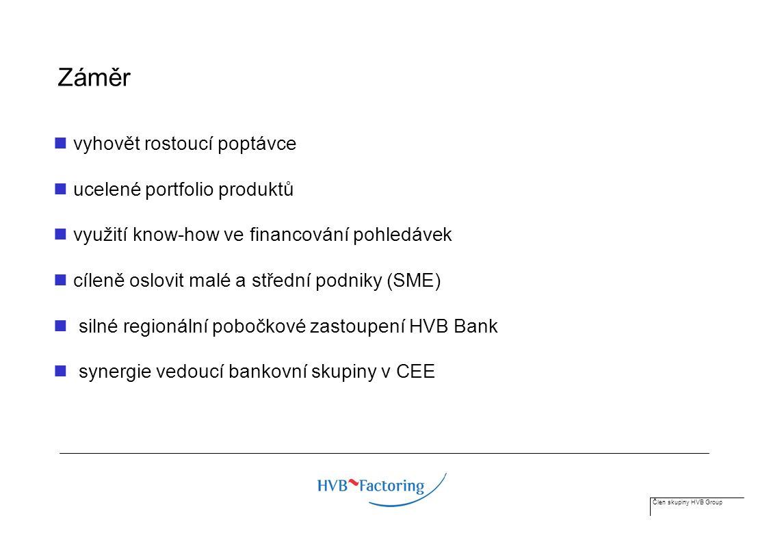 Člen skupiny HVB Group Přehled trhu factoringových služeb Zdroje informací: Archiv HN, Bankovnictví Výroční zprávy společností Asociace factoringových společností ČR Factor Chain International (sdružení factoringových společností, pokrývá cca 65 % světového trhu) World Bank statistics (GDP)