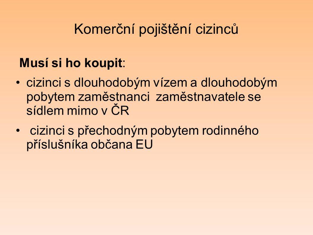 Komerční pojištění cizinců Musí si ho koupit: cizinci s dlouhodobým vízem a dlouhodobým pobytem zaměstnanci zaměstnavatele se sídlem mimo v ČR cizinci