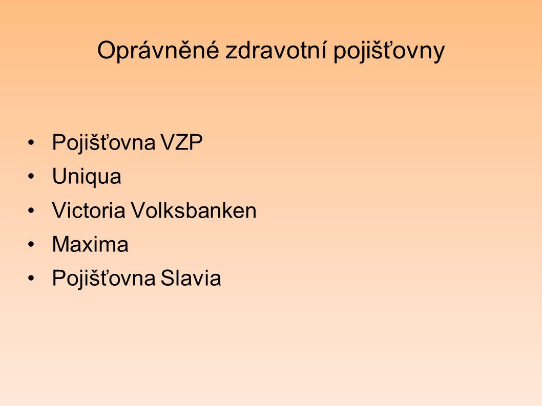 Oprávněné zdravotní pojišťovny Pojišťovna VZP Uniqua Victoria Volksbanken Maxima Pojišťovna Slavia