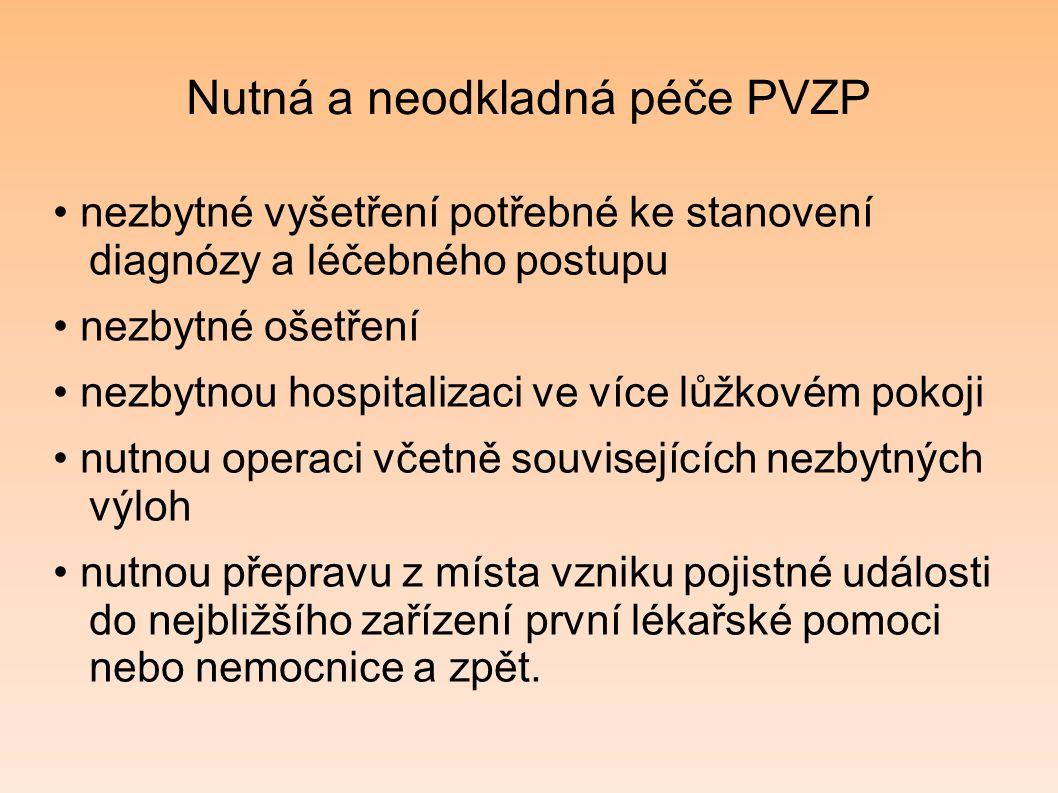 Nutná a neodkladná péče PVZP nezbytné vyšetření potřebné ke stanovení diagnózy a léčebného postupu nezbytné ošetření nezbytnou hospitalizaci ve více l