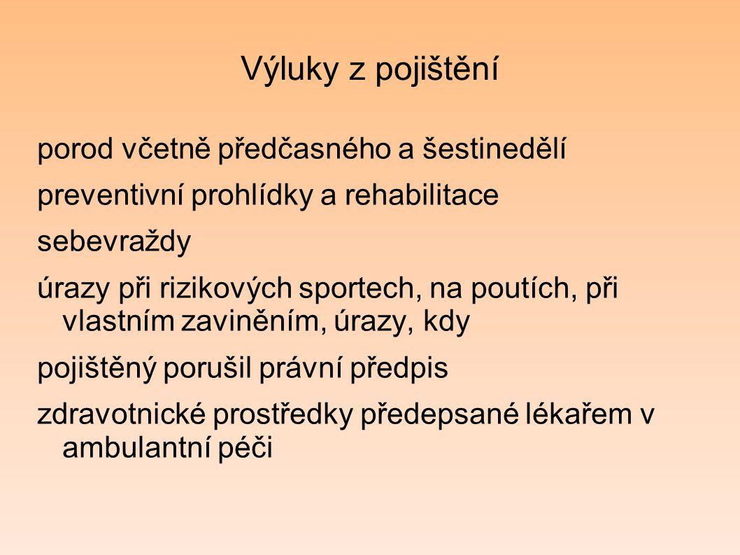 Výluky z pojištění porod včetně předčasného a šestinedělí preventivní prohlídky a rehabilitace sebevraždy úrazy při rizikových sportech, na poutích, p