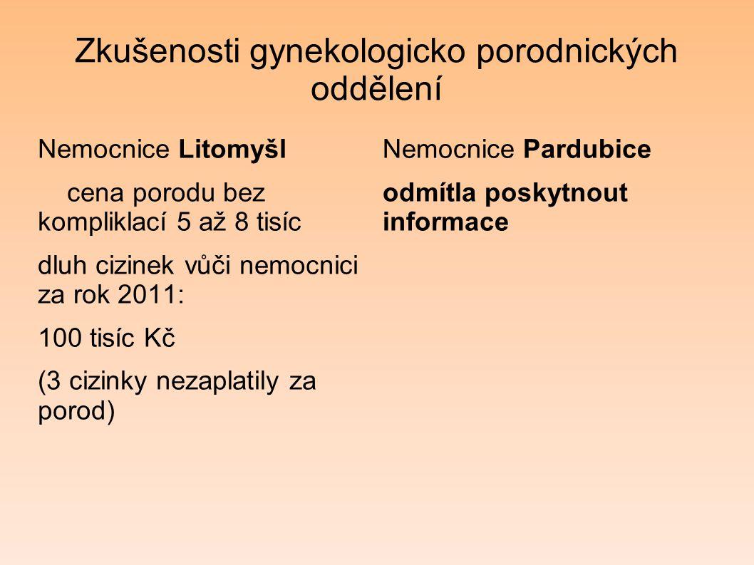 Zkušenosti gynekologicko porodnických oddělení Nemocnice Litomyšl cena porodu bez kompliklací 5 až 8 tisíc dluh cizinek vůči nemocnici za rok 2011: 10