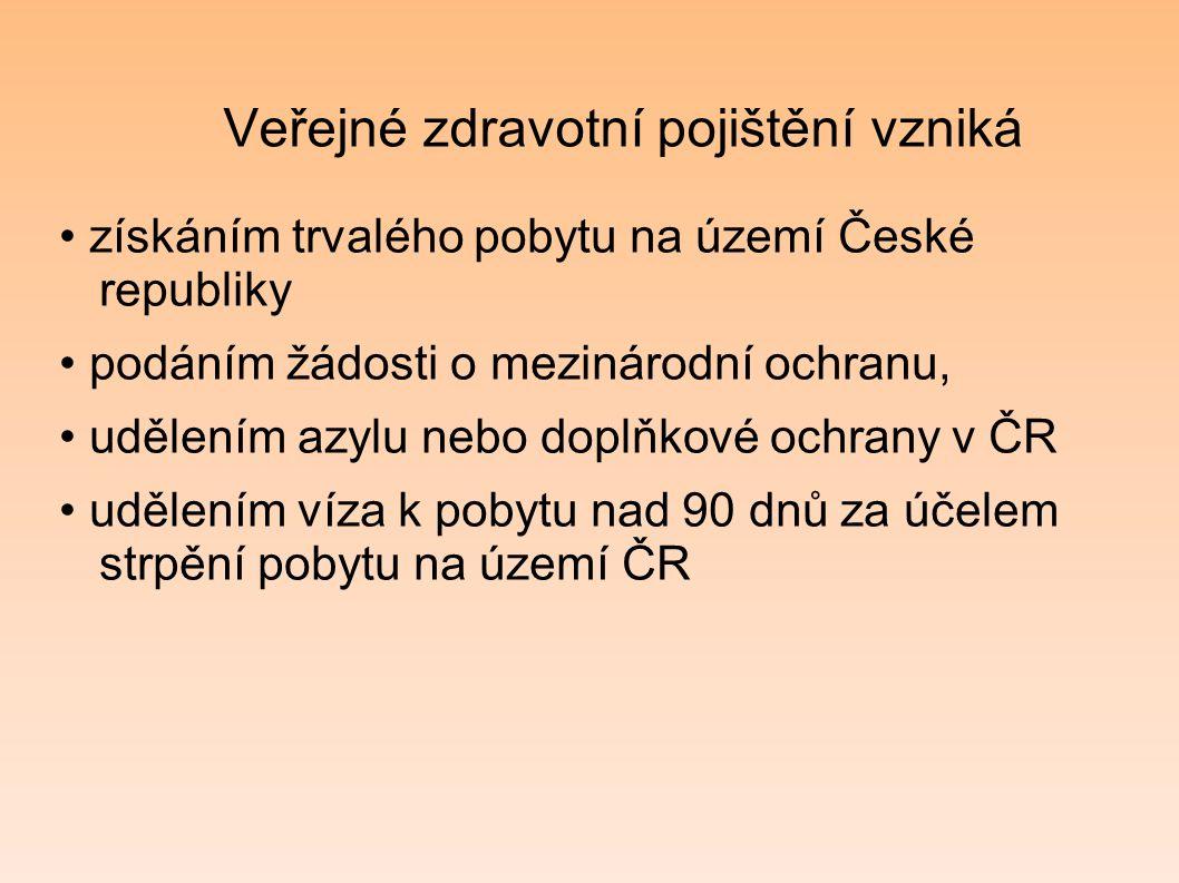 Veřejné zdravotní pojištění vzniká získáním trvalého pobytu na území České republiky podáním žádosti o mezinárodní ochranu, udělením azylu nebo doplňk