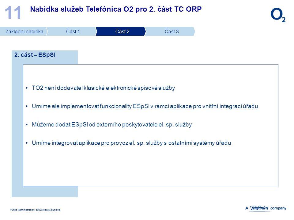 Public Administration & Business Solutions Nabídka služeb Telefónica O2 pro 2. část TC ORP 11 2. část – ESpSl TO2 není dodavatel klasické elektronické