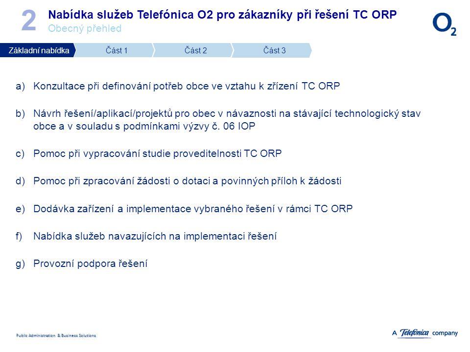 Public Administration & Business Solutions 2 Nabídka služeb Telefónica O2 pro zákazníky při řešení TC ORP Obecný přehled a)Konzultace při definování p