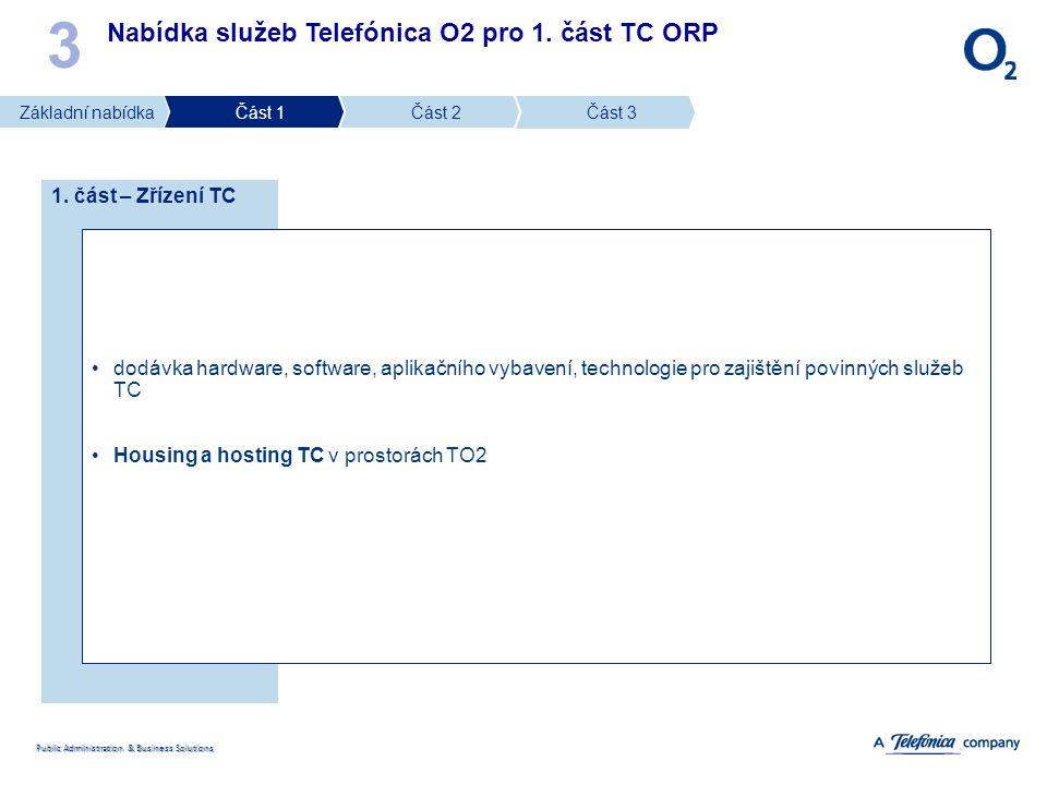 Public Administration & Business Solutions Nabídka služeb Telefónica O2 pro 1. část TC ORP 3 1. část – Zřízení TC dodávka hardware, software, aplikačn