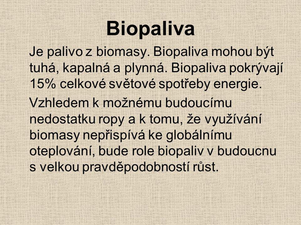 Biopaliva Je palivo z biomasy. Biopaliva mohou být tuhá, kapalná a plynná. Biopaliva pokrývají 15% celkové světové spotřeby energie. Vzhledem k možném