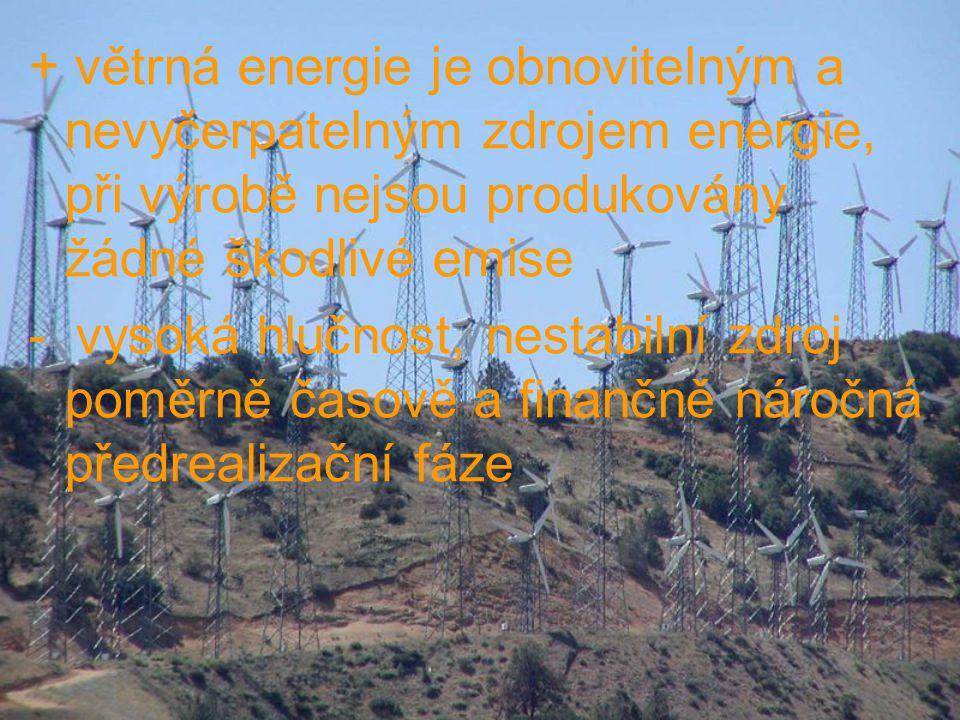 + větrná energie je obnovitelným a nevyčerpatelným zdrojem energie, při výrobě nejsou produkovány žádné škodlivé emise - vysoká hlučnost, nestabilní z